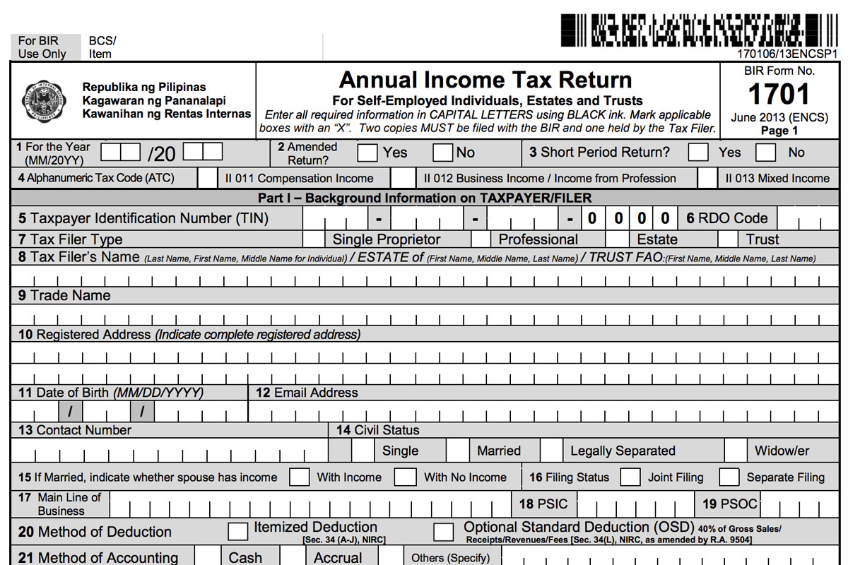 Deadline for personal tax return